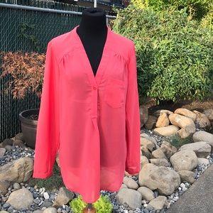 Sheer V neck coral blouse